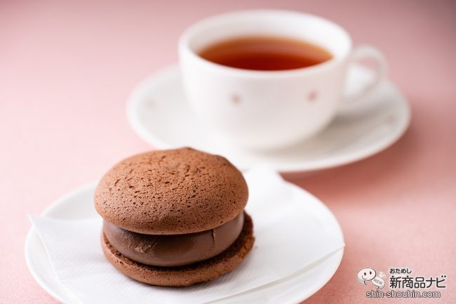 白いお皿にのったショコラブッセとカップに入った紅茶